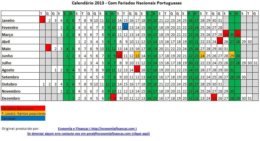 Calendário 2013 apos redução de feriados
