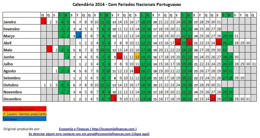 Feriados em 2014 em Portugal
