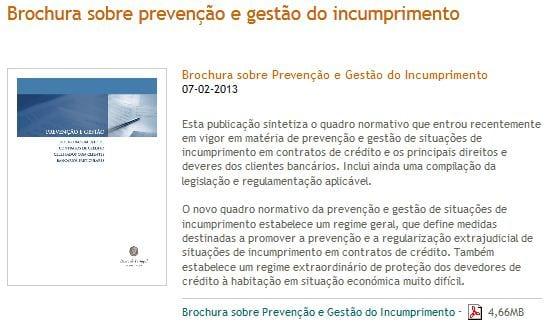 brochura sobre prevenção e gestão do incumprimento