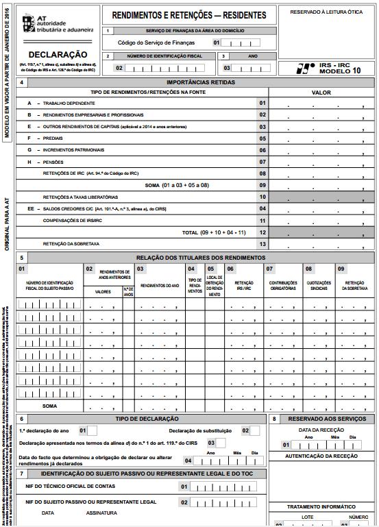 Novo Modelo 10 do IRS e IRC e respetivas instruções de preenchimento
