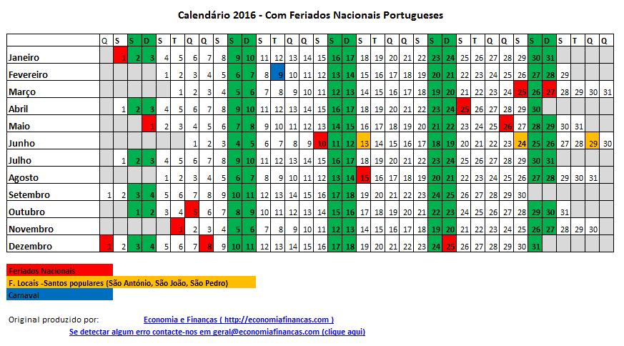 Calendário 2016 Portugal com feriados NOVO