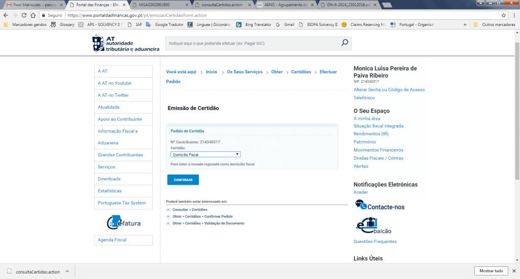 Portal das Finanças Domicílio Fiscal