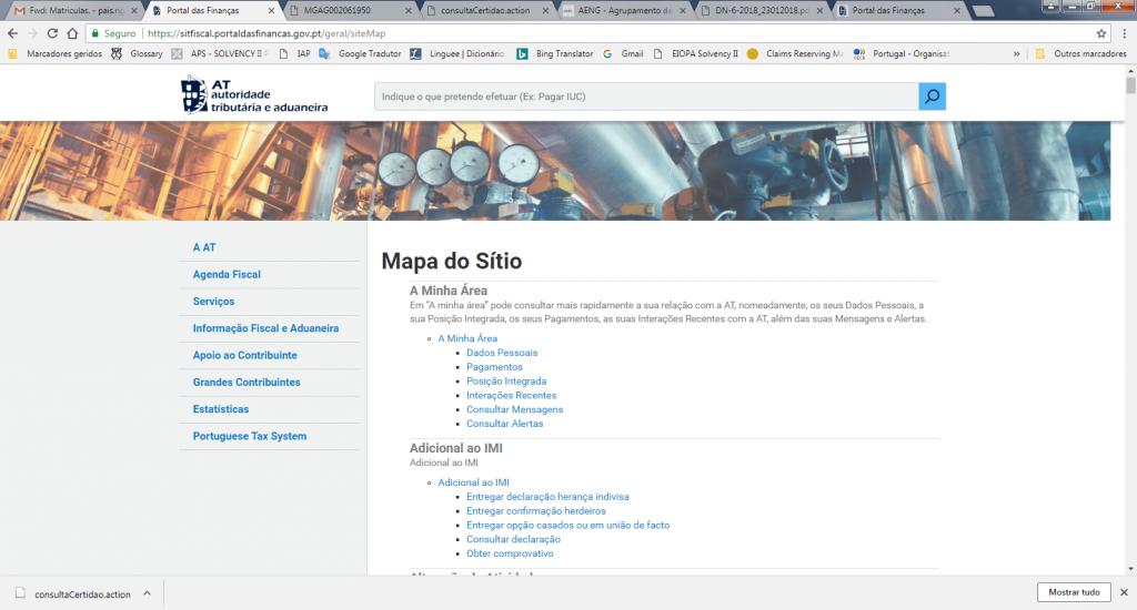 Portal das Finanças Mapa do Sítio