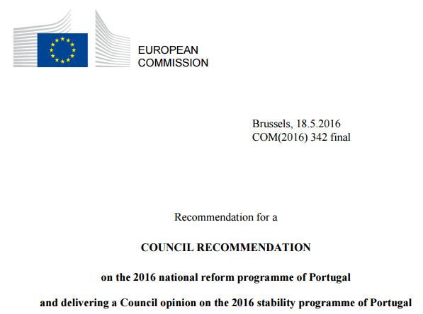 Recomendações para Portugal da Comissão Europeia