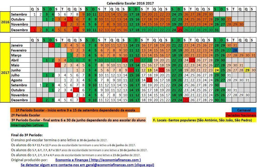 Calend rio escolar 2016 2017 em excel economia e finan as for Calendario ferias