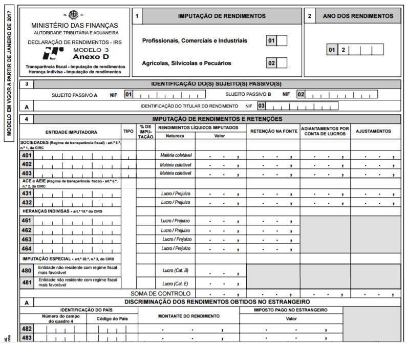 Modelo 3 para IRS 2017