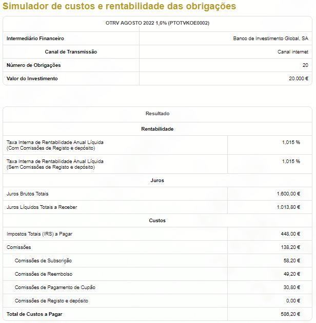 Simulação de custos e rentabilidade das obrigações - Exemplo