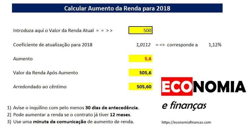 Calcular o aumento das rendas para 2018
