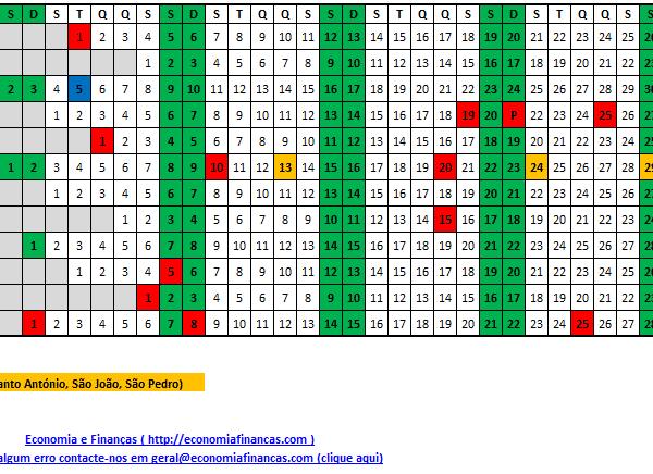Calendário 2019 - Portugal Excel