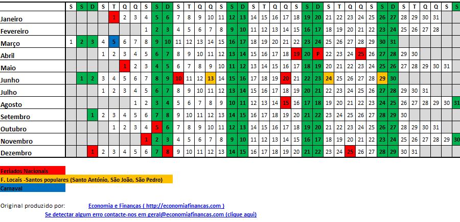 Calendario Su Excel.Calendario 2019 Portugal Excel Economia E Financas