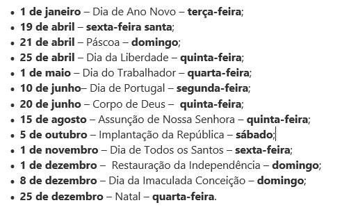Feriados Nacionais Portugal 2019