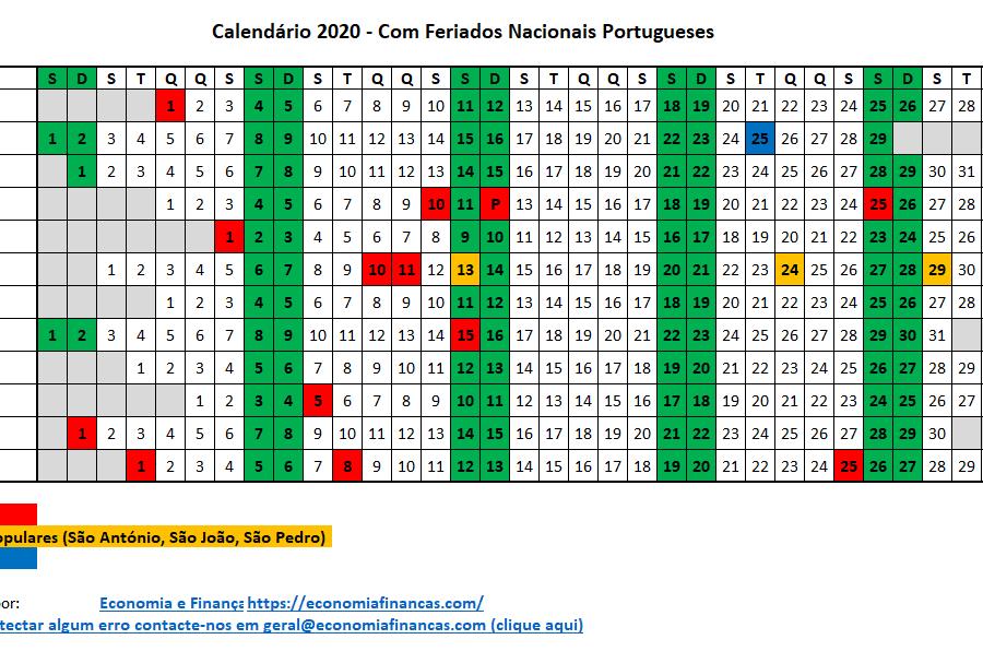 Calendario 2020 Portugues Com Feriados.Calendario 2020 Em Excel Portugal Economia E Financas