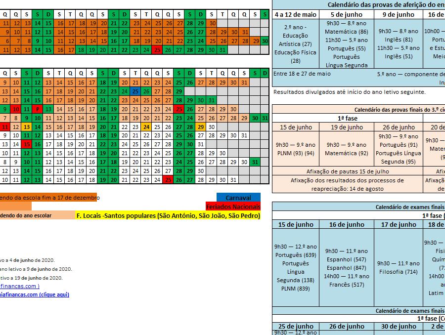 Calendario Iva 2020.Calendario Escolar 2019 2020 Em Excel Economia E Financas