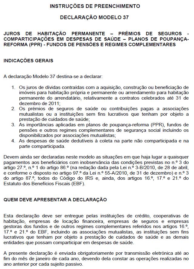 Declaração Modelo 37 - 2020